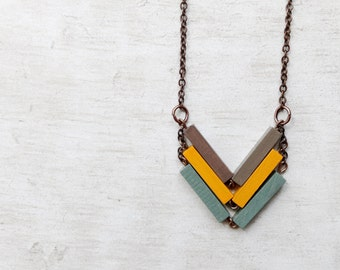 Chevron Necklace // SAHARA // Minimal Necklace // Yellow / Beige / Mint / Hand-Painted Necklace / Modern Necklaces / Chevron Necklace / Wood