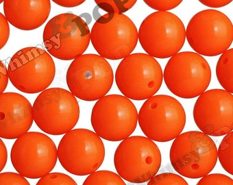 20mm - 10 PACK of Fluorescent Neon Deep Orange 20mm Gumball Beads, Chunky Acrylic Jelly Beads, 20mm Chunky Beads, 20mm Beads, 2MM Hole