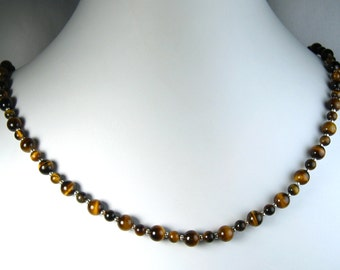 """Tiger's Eye Necklace Silver 22"""""""