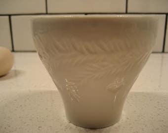 BOGO 40% OFF // Vintage Rorstrand cup - Sweden - Leaf fronds - hanging apple, bell, heart - handless cup - fine porcelain - fine & dainty