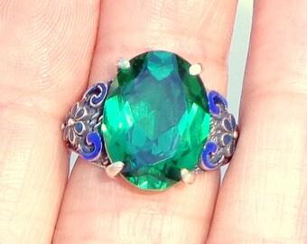 SALE, Green Topaz, Blue Enameled Sterling Silver, Size Adjustable Ring, Large Faceted Gemstone, Awesome Color, OOAK