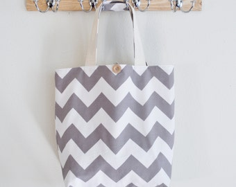 Large Gray Chevron Market Bag - Fabric Shopping Bag Gray and White - Grocery Bag - Bridesmaid Gift - Gift for Her - Shopping Tote - Washable