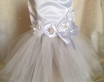 Dog Wedding Dress, White Satin with Tutu skirt dog of honor, pet wedding clothes, dress