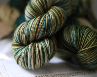 Rescue Yarn!  Hand Dyed Sock Yarn, Limited Edition, Only THREE, Under the Sea, Teal, Green, Gold, Beige, Indie Dyer, super wash merino