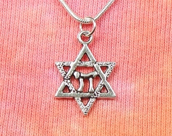 "Chai in Star of David Necklace 16-36"" Silver Chain Gift Boxed Ready To Ship Men or Women Jew Jewish Judaica Symbol Shabbat Judaica Judaism"