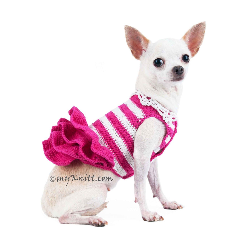 Rosa ganchillo perro boda vestido rayas falda mullida blanca