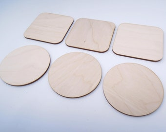 Wooden Coasters for Cups for Crafts - Laser Cut - Rustic Coasters - Coasters For Craft - Blank Coasters