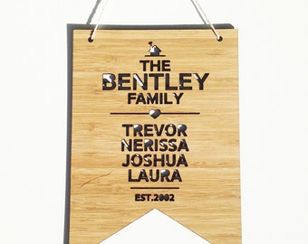 The Family Personalised Bamboo Wall Hanging