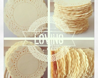 100 cream color paper doilies for wedding decoration/ pack