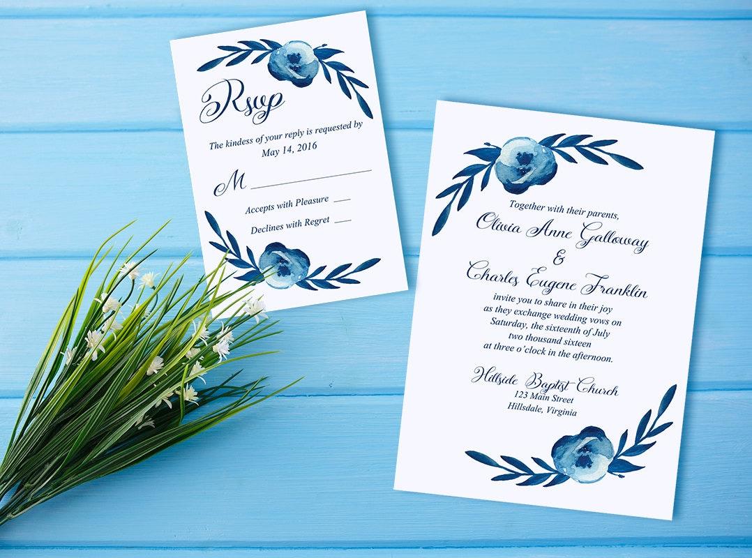 Watercolor Wedding Invitation RSVP Card Floral Wedding