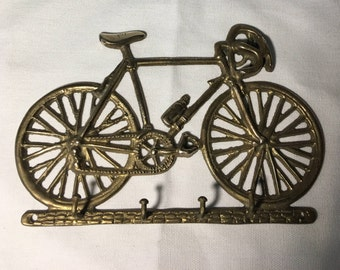 """Bicycle Built for Keys Brass 7-5/8"""" wide 4 Hooks"""