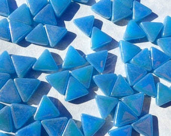 Small Blue Triangle Iridescent Glass Mosaic Tiles - 10mm - Opaque Glass Solid Color - 50g of Triangles in Dusk Blue