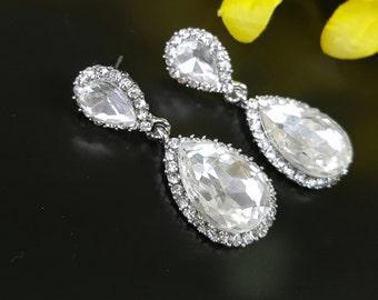 Bridesmaid Earrings, Silver Bridal Earrings, Bridesmaid Wedding Jewelry, Crystal Tear Drop Earrings, White Cubic Zirconias Teardrop Earrings