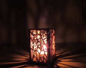 Wooden Tea Light Holder, Handmade Candle Holders, Rustic, Battery Powered, LED Tea Light, Ideal Gift, Wood Table Lamp, Night Light