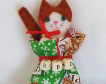 Personalized Cat/Kitty in Bag Ornament.  Approx 5 in tall. Made to Order.
