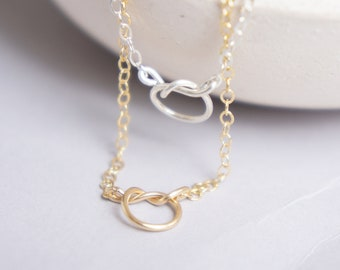 Dainty Necklace Bridesmaids Gifts Charm Necklace Bridesmaid Necklace Sterling Silver Necklace Knot Necklace Gold Necklace