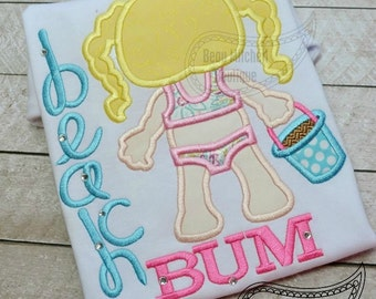 Beach Bum girl applique