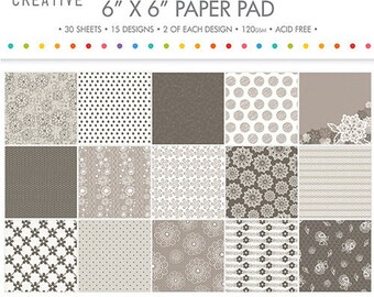 LOT 30 sheet of paper flowers SHABBY CHIC FLORAL LACE NATURAL TAUPE BEIGE SCRAPBOOKING CARDSTOCK 15x15cm