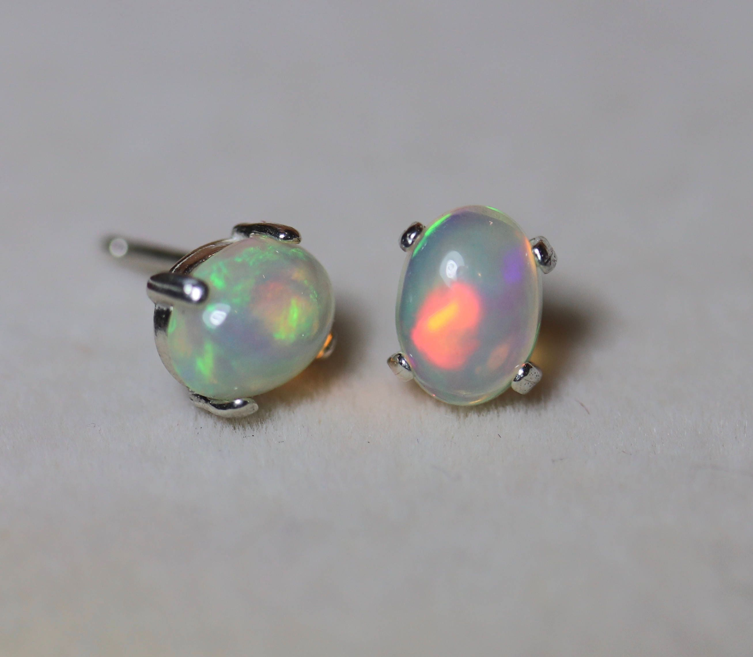 solid gold tpj earrings yellow australian opal oval shape stud genuine