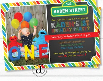 Elmo Invitation, Elmo Invite, Elmo Birthday, Sesame Street Invitation, Sesame Street Invite, Elmo Birthday Party, Sesame Street Party (E2)