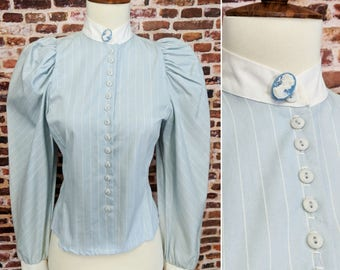 Vintage 80's Victorian Blouse Unworn with Tags You Babes Button up Size Small Blue Shirt Top Puff Sleeve Cameo