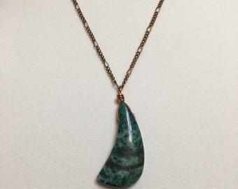 "Chrysocola Drop pendant necklace, Figaro, Gemstone, 18"", Short, Boho, Antique copper, Chain, Blue, Green Woman, Jewelry"