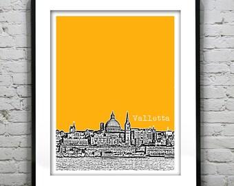 Valletta Malta City Skyline Poster Art Print Southern Europe Item T1360