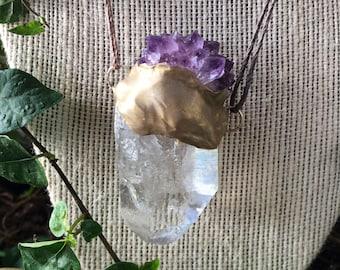South African Amethsyt flower Quartz point talisman