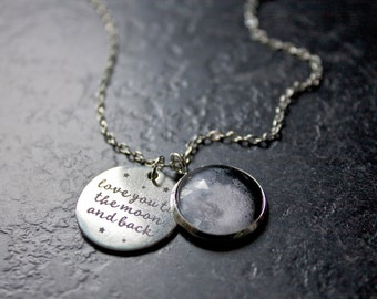 Love You To The Moon And Back Necklace - Custom Moon Phase Necklace - Custom Personalised Moon - I love you to the moon and back necklace