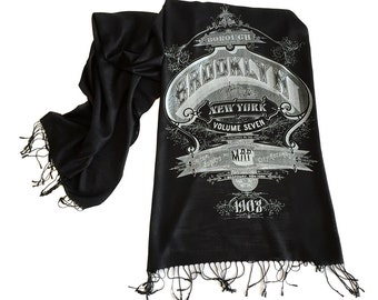 Brooklyn Scarf. New York City print black pashmina scarf. Typography print. For men or women. Linen-weave pashmina. More colors too!