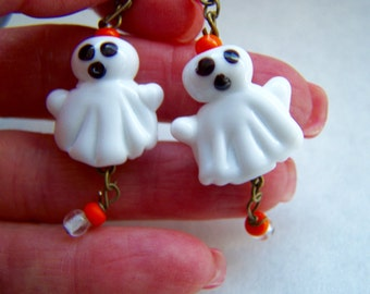 Halloween Ghosts Lampwork Glass Dangle Earrings Doodaba
