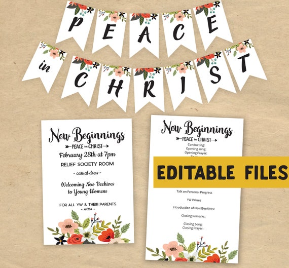Editable New Beginnings 2018 Invitation Program Peace