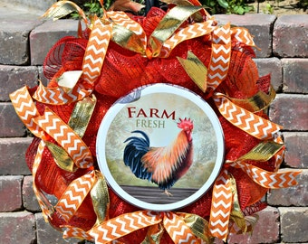 Rooster Wreath, Farmhouse Style Wreath, Chicken Wreath, Country Wreath, Kitchen Wreath, Front Door Wreath, farmhouse, Country, chicken
