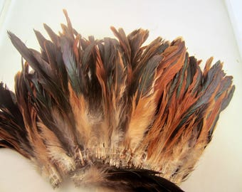 Natural half bronze Schlappen half bronze 6 to 8  inches  craft feathers saddle feathers