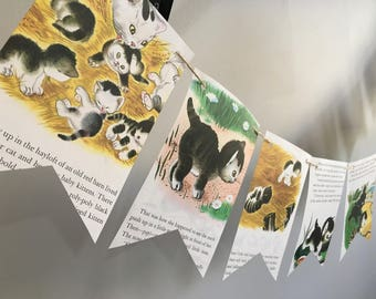 The Shy Little Kitten vintage book page banner bunting garland decoration