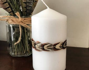 Pheasant Feather Band Pillar Candle