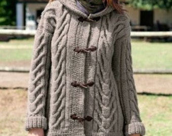 Chunky Ladies Cable Duffle Coat With Hood S/XL Sizes Knitting Pattern 99p pdf