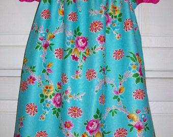 Girls Dress Summer Dress with Flowers Peasant Dress Floral Dress Short Sleeve Dress Jennifer Paganelli Dress with Sleeves Toddler Dresses