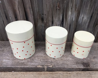 Set Of Three Dotted Tin Boxes // Vintage Storage Containers // Made in Yugoslavia // Saturnus