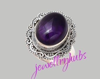 Amethyst Ring, Stone Ring,Amethyst Silver Ring,Silver Ring, Amethyst  Ring, Sterling Silver Ring, Amethyst,Size US 4 to 16,  R21AM