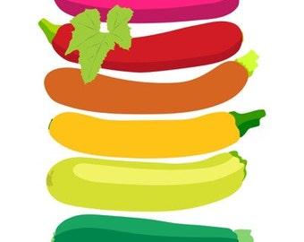 Kitchen Art Print, Zucchini Art print, Zucchini Decor, Zucchini Print, modern art print, Kitchen Decor, Retro Kitchen art, Original art
