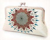 Mandala starburst clutch bag, printed silk purse, sunburst, circle, bridesmaid purse, wedding bag