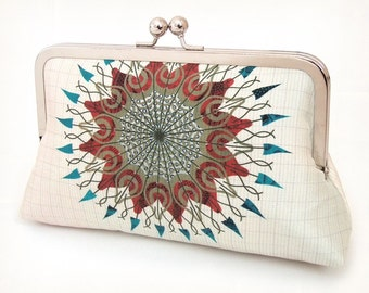 Mandala starburst clutch bag, printed silk purse, sunburst, circle, bridesmaid purse, wedding bag