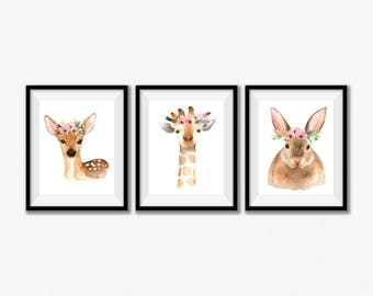 Woodland Nursery Art, Woodland Nursery Wall Decor, Baby Girl Nursery Decor, Baby Girl Nursery Set, Woodland Creatures Nursery Art