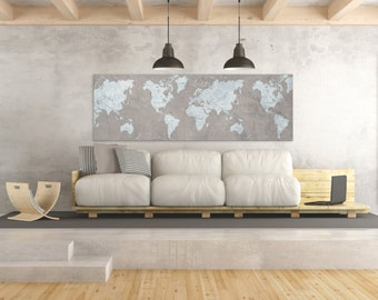 WORLD MAP Canvas Print Brown Vintage Taupe Light Blue Gray World Map  Panoramic Extra Large Long