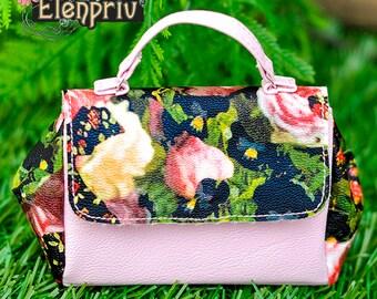 ELENPRIV oversize flower printed leather bag for Fashion royalty FR:16 Tulabelle Tonner BJD Sybarite Numina Kingdom dolls