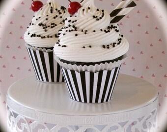 Fake Cupcake (1) Black and White Cupcake Collection Black White Sundae Standard Size 12 Legs Original Design