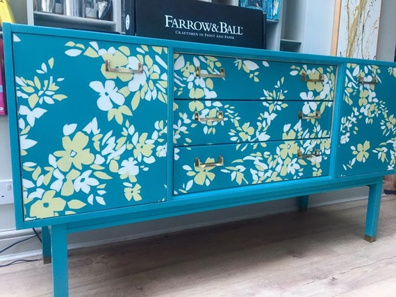 SOLD! Stunning vintage G Plan sideboard transformed with Farrow & Ball NEW paper design