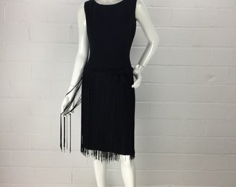 "Vintage 60s Black Fringed Pinup Wiggle Dress, 60s Does 20s, Flapper Fringe Prom Dress, Sleeveless Dropped Waist Cocktail Dress, B34"" W28"""