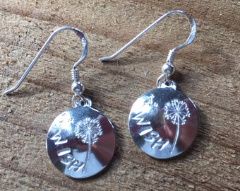 Handmade WISH earrings, gifts for mum, hand made,